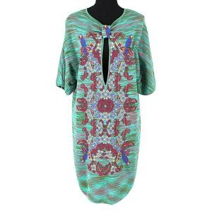 MISSONI Teal Striped Embroidered Parrot Dress 44